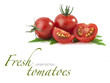 Set of tomatoes with green leaf on white (with sample text)