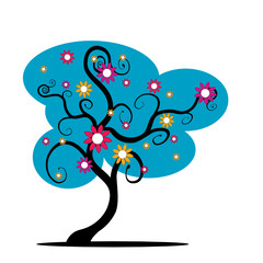 vector blue tree