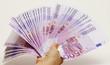 Geldscheinfächer in Hand halten
