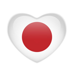 Japan Flag Heart Glossy Button