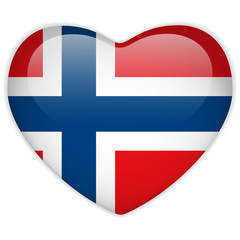 Norway Flag Heart Glossy Button