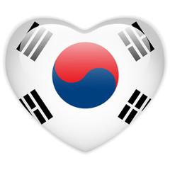 South Korea Flag Heart Glossy Button