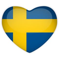 Sweden Flag Heart Glossy Button