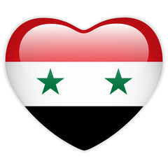 Syria Flag Heart Glossy Button