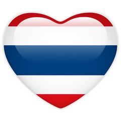 Thailand Flag Heart Glossy Button