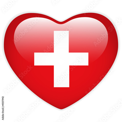Switzerland Flag Heart Glossy Button