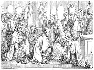 Saint Remigius baptizes Clovis I