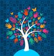 Diversity tree hands background