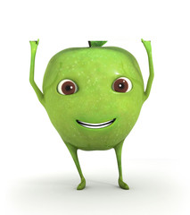 Cute green apple holding a blank paper