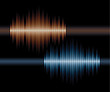 Blue and orange stereo waveform