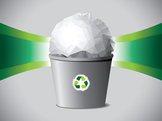 Modern trash bucket with crumpled paper