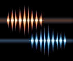 Blue and orange stereo waveform