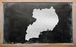 outline map of uganda on blackboard