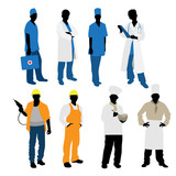 Fototapety Mens professions silhouettes