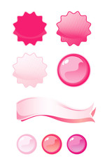 Set of Pink labels, isolated on White background