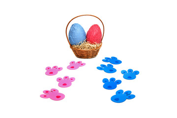 Pink and blue tracks for Easter eggs hunt
