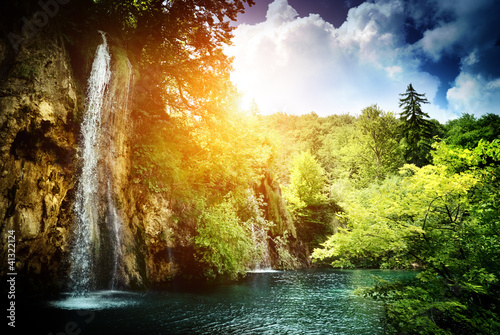 waterfall in deep forest - 41322124