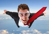 Skydiving businessman