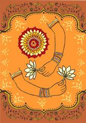 Women hand holding lotus flower background