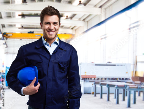 Portrait of a smiling handsome engineer