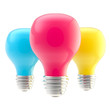 Three CMYK colored bulbs