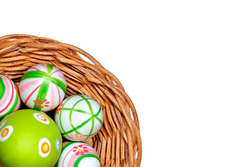 Easter eggs in a basket from corner