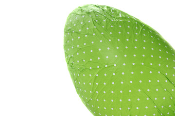 Green wrapped Easter Egg from corner