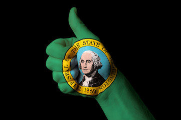 washington us state flag thumb up gesture for excellence and ach