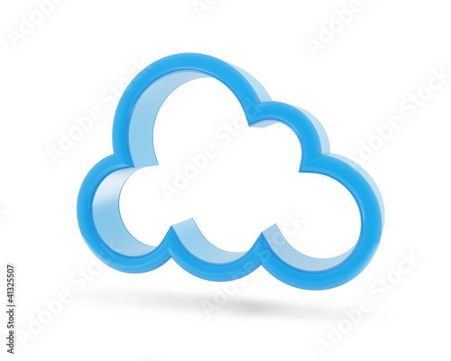 Secure cloud database network isolated blue icon