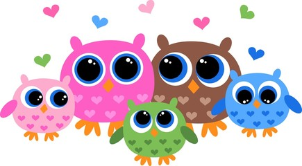 a colorful owl family