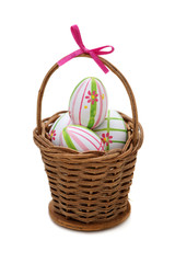 Easter eggs into a basket
