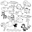 Savannah animals. Vector black and white characters.