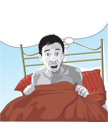 Man scared after having a bad dream with text bubble.