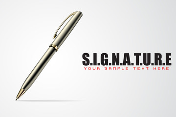 Pen on Signature Background
