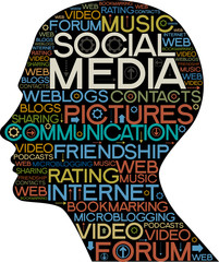 Social Media silhouette of  head with the words