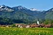 Dorf in frühlingshafter Alpenlandschaft