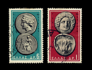 Ancient coins of Greece on stamps