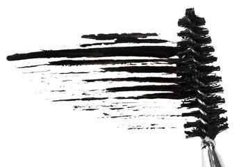 Stroke of black mascara with applicator brush, isolated on white