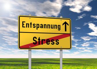 """Ortsschild """"Entspannung / Stress"""""""