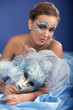 Romantic Beauty in blue with Carnival mask