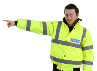 Security guard pointing