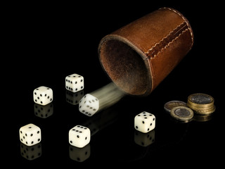 Dice and coins.