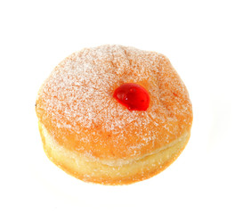 Fresh raspberry filled donut