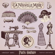 Paris fashion - collection of vintage design elements