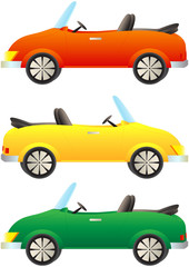 set cartoon colorful cars cabriolet