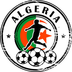 Stamp with football and name Algeria, vector illustration