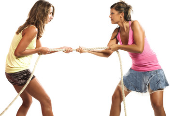 two girls will compete in the tug of rope