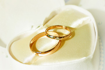 scene two rings as symbol holiday wedding ceremony