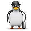 3d Penguin in glasses wears a bowler hat