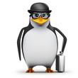 3d Penguin in glasses wears a bowler hat